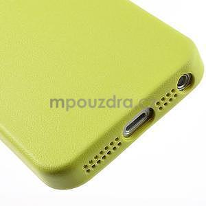 Gélový obal s textúrou na iPhone 5 a 5s - žltozelený - 5