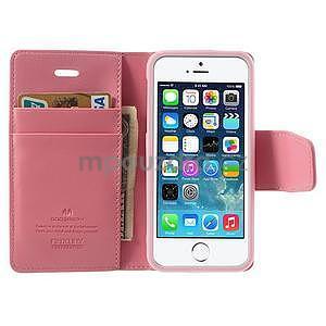 Peňaženkové koženkové puzdro pre iPhone 5s a iPhone 5 - ružové - 5