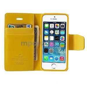 Peňaženkové koženkové puzdro pre iPhone 5s a iPhone 5 - žlté - 5