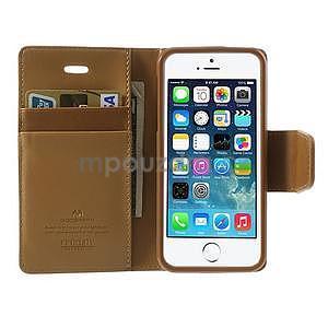 Peňaženkové koženkové puzdro pre iPhone 5s a iPhone 5 - coffee - 5