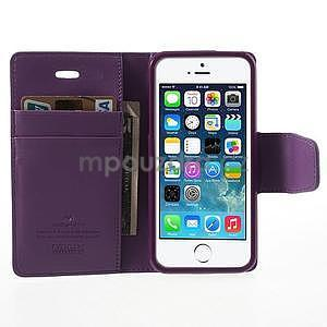 Peňaženkové koženkové puzdro pre iPhone 5s a iPhone 5 - fialové - 5