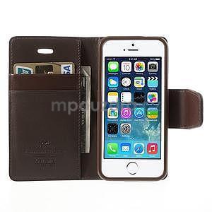 Peňaženkové koženkové puzdro na iPhone 5s a iPhone 5 - hnedé - 5