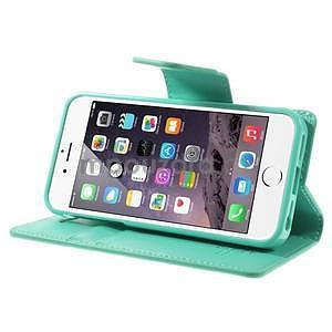 Peňaženkové koženkové puzdro na iPhone 5s a iPhone 5 - azurové - 5