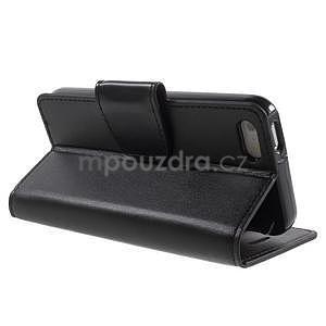 Peňaženkové koženkové puzdro na iPhone 5 a iPhone 5s - čierne - 5