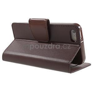 Peňaženkové koženkové puzdro na iPhone 5 a iPhone 5s - tmavohnedé - 5