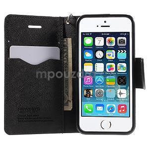 Dvojfarebné peňaženkové puzdro pre iPhone 5 a 5s - čierne/čierne - 5