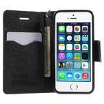 Dvojfarebné peňaženkové puzdro pre iPhone 5 a 5s - čierne/čierne - 5/6