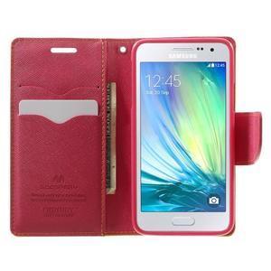 Diary PU kožené puzdro pre Samsung Galaxy A3 - žlté - 5