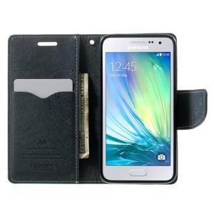 Diary PU kožené puzdro pre Samsung Galaxy A3    - cyan - 5