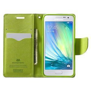 Diary PU kožené puzdro pre Samsung Galaxy A3    - tmavomodré - 5