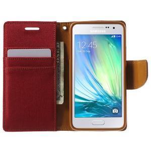 Luxury textilné / koženkové puzdro na Samsung Galaxy A3 - červené - 5