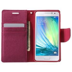 Luxury textilné / koženkové puzdro na Samsung Galaxy A3 - rose - 5