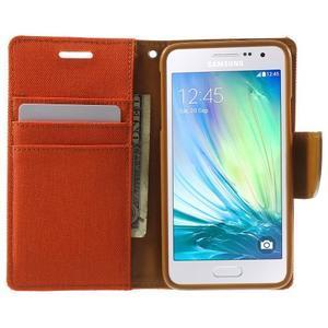 Luxury textilné / koženkové puzdro pre Samsung Galaxy A3 - oranžové - 5