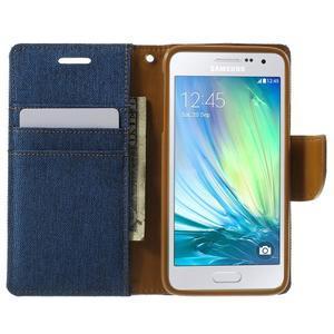 Luxury textilné / koženkové puzdro pre Samsung Galaxy A3    - modré - 5
