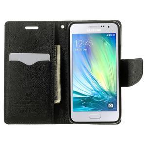 Diary PU kožené puzdro na Samsung Galaxy A3 - čierne - 5