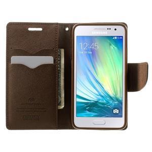 Diary PU kožené puzdro na Samsung Galaxy A3 - čierne/hnedé - 5