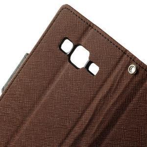 Fancy PU kožené pouzdro na Samsung Galaxy Core Prime - hnědé/černé - 5