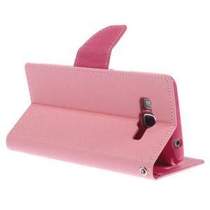 Diary PU kožené puzdro na mobil Samsung Galaxy Grand Prime - ružové - 5