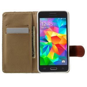Kvetinové koženkové puzdro na Samsung Galaxy Grand Prime - biele pozadie - 5