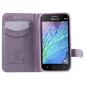 Koženkové puzdro s mačičkou Domi na Samsung Galaxy J1 - fialové - 5