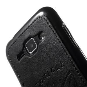 Obal s koženkovým chrbtom a mačičkou Domi pre Samsung Galaxy J1 -  čierne - 5