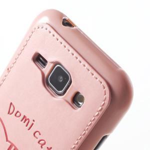 Obal s koženkovým chrbtom a mačičkou Domi pre Samsung Galaxy J1 -  ružová - 5