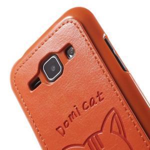 Obal s koženkovým chrbtom a mačičkou Domi pre Samsung Galaxy J1 -  oranžový - 5
