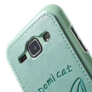 Obal s koženkovým chrbtom a mačičkou Domi pre Samsung Galaxy J1 -  azúrové - 5