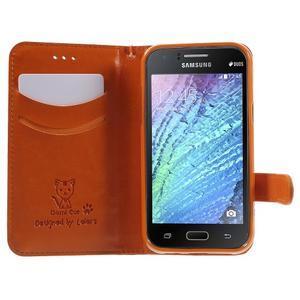 Koženkové puzdro s mačičkou Domi na Samsung Galaxy J1 - oranžové - 5