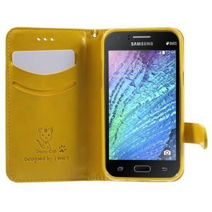 Koženkové puzdro s mačičkou Domi na Samsung Galaxy J1 - žlté - 5