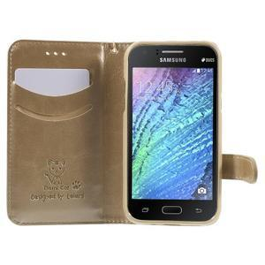 Koženkové puzdro s mačičkou Domi pre Samsung Galaxy J1 - zlaté - 5