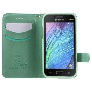 Koženkové puzdro s mačičkou Domi na Samsung Galaxy J1 - zelené - 5