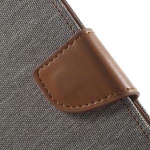 Luxury textilní/pu kožené puzdro na Samsung Galaxy J5 - šedé - 5