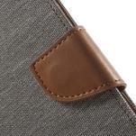 Luxury textilní/pu kožené puzdro na Samsung Galaxy J5 - šedé - 5/7