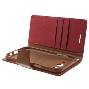 Luxury textilní/pu kožené puzdro na Samsung Galaxy J5 - červené - 5