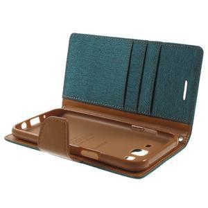 Luxury textilní/pu kožené puzdro na Samsung Galaxy J5 - zelenomodré - 5