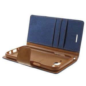 Luxury textilné/pu kožené puzdro pre Samsung Galaxy J5 -  modré - 5