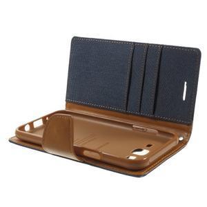 Luxury textilní/pu kožené puzdro na Samsung Galaxy J5 -  tmavomodré - 5