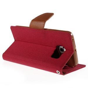 Luxury textilné / koženkové puzdro pre Samsung Galaxy S6 Edge - červené - 5