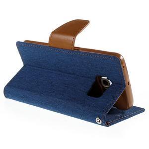 Luxury textilné / koženkové puzdro pre Samsung Galaxy S6 Edge - modré - 5