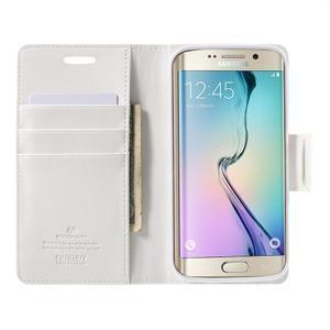 Wallet PU kožené puzdro na Samsung Galaxy S6 Edge G925 -  biele - 5