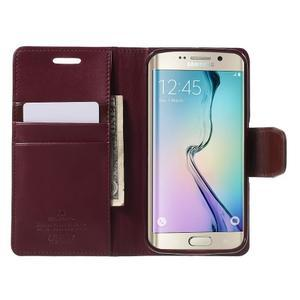 Wallet PU kožené puzdro pre Samsung Galaxy S6 Edge G925 -  vínové - 5