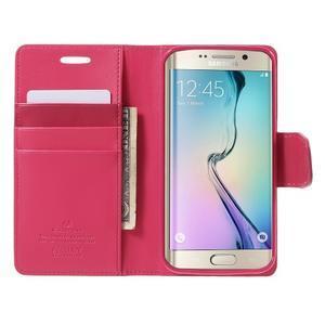 Wallet PU kožené puzdro pre Samsung Galaxy S6 Edge G925 -  rose - 5