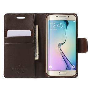 Wallet PU kožené puzdro pre Samsung Galaxy S6 Edge G925 -  tmavohnedé - 5
