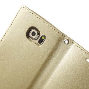 Wallet PU kožené puzdro na Samsung Galaxy S6 Edge G925 - champagne - 5
