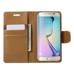 Wallet PU kožené puzdro na Samsung Galaxy S6 Edge G925 -  hnedé - 5