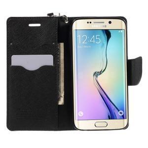Diary PU kožené puzdro na Samsung Galaxy S6 Edge - čierne - 5