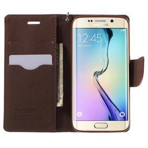 Diary PU kožené puzdro pre Samsung Galaxy S6 Edge - čierne/hnede - 5