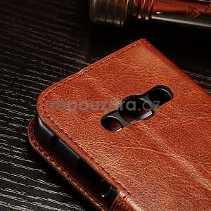 Koženkové peňaženkové puzdro pre Samsung Galaxy Xcover 3 - hnedé - 5