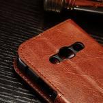 Koženkové peňaženkové puzdro pre Samsung Galaxy Xcover 3 - hnedé - 5/7
